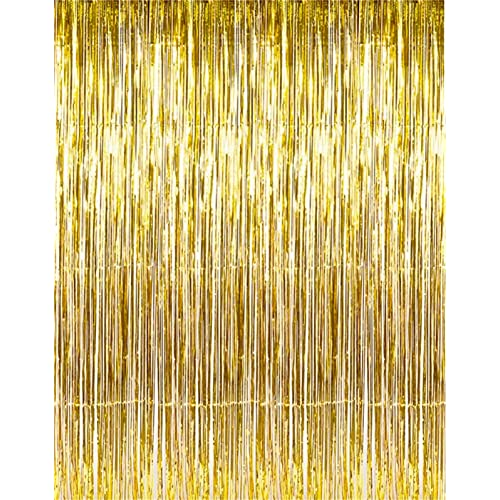 Set Of 2 Shiny Gold Metallic Foil Fringe Door Window Curtain Party Decoration 3