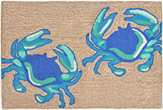 Liora Manne Front Porch Coastal Beach Crabs Blue Indoor/Outdoor Rug, 2'6