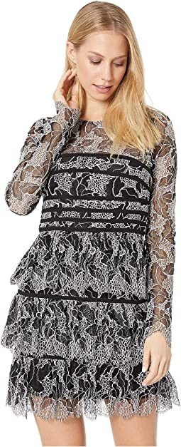 Long Sleeve Lace Dress with Strapping Detail