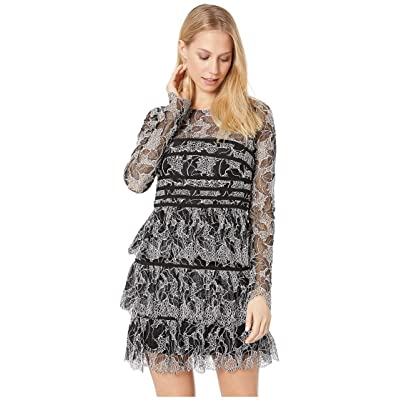 Halston Heritage Long Sleeve Lace Dress with Strapping Detail (Black/Cream 1) Women