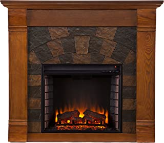 Southern Enterprises Elkmont Electric Fireplace, Salem Antique Oak Finish with Dark Earth Tone Tiles