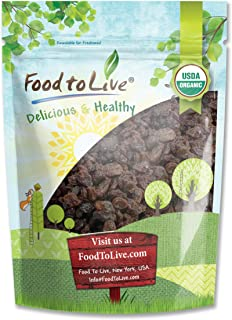 California Organic Raisins, 2 Pounds - Thompson Seedless Select, Sun-Dried, Non-GMO, Kosher, Unsulphured, Bulk, Lightly Coated with Organic Sunflower Oil