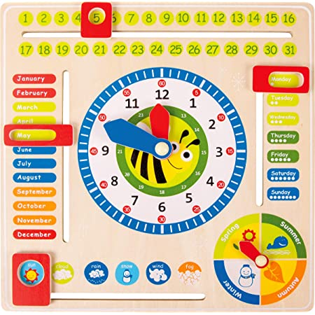 Early Educational Multifunctional Wooden Clock Toy Time Date Season Weather Kids Children Fishlor Wooden Clock Toy