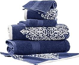 بطانية خارج البلاد | artesia Damask المكونة من 6قطع مجموعة خيوط مصبوغة مصنوعة من قماش الجاكار منشفة قابلة للعكس (أزرق نيلي)