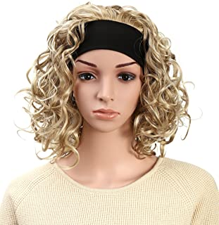 OneDor 16 Inch Curly Hair 3/4 Half Head Synthetic Hair Wig with Black Headband (L16-163)