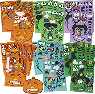 JOYIN 24 Pieces Mix and Match Halloween Decoration Stickers in 6 Designs with Jack-o-Lantern Pumpkin Vampire Witch Frankstein Zombie Halloween Party Supplies