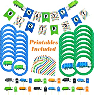 Garbage Truck Party Supplies - 73 Pieces - Trash Truck Birthday Party Includes Garbage Truck Plates - Garbage Truck and Recycling Bin Cupcake Toppers - Happy Birthday Banner - Napkins - Bonus Printables