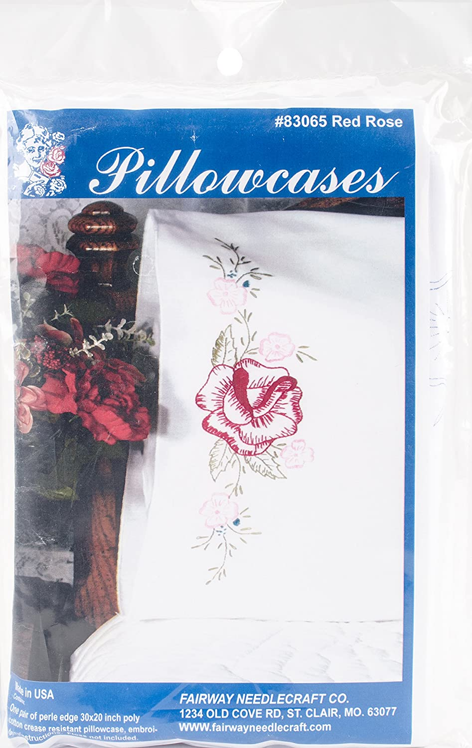 Fairway Needlecraft Red Rose Stamped Perle Edge Pillowcases 2/Pkg, 30