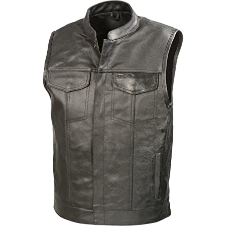 SOA Motorcycle Sons of Anarchy ARMOR Leather Open Collar Leather Biker Vest XXL