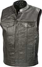 SOA Mens Leather Club Style Vest W/Concealed Gun Pockets, Cowhide Leather Biker Vest, Single Panel Back (Black, XL)