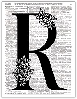 R - Monogram Wall Decor, Letter Wall Art, Dictionary Page Photo Art Print, 8x10, UNFRAMED