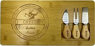 """Organic Bamboo Cheese Cutting and Serving Board With Cutting Set [Set of 1 - 14.90"""" x 4,48""""] Highly Durable, Washable - Pe..."""