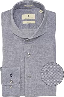 Thomas Maine Men's Tailored Fit Knitted Bari Shirt Navy