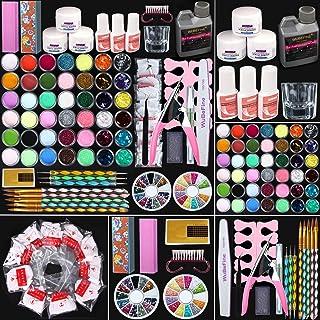 WuBeFine 42 in 1 Acrylic Nail Kit,Nail Acrylic Powder and Liquid Set,Brush Glitter File..