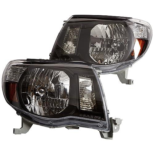 Depo 312-1186P-US2 Toyota Tacoma Headlight with Black Bezel, One Pair