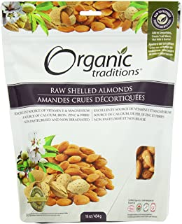 Organic Traditions Premium Raw Shelled, Almonds, 16 Ounce