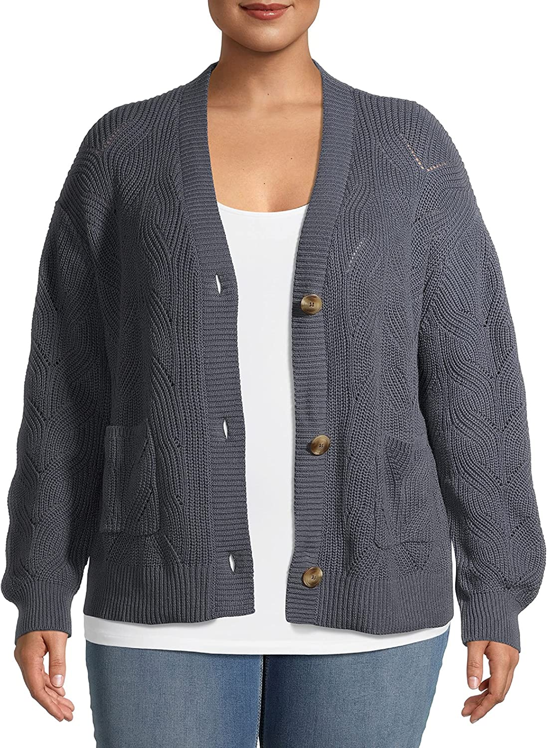 Terra & Sky Women's Plus Size Stitched Button-Front Cardigan 4X Grey