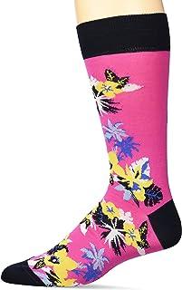 Bugatchi mens Fashion Mercerized Cotton Floral Printed Sock Dress Sock