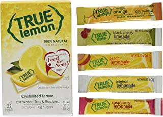 True Lemon 32ct pack. Plus 5 SAMPLE sticks of True Lemon Lemonade, Peach, Raspberry, Black Cherry, and Orange Mango. Natural Flavored Water Enhancer, Great beverage option for Paleo and Atkins diets.