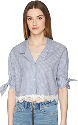 Shirt with Fine Stripes and Lace at The Hem