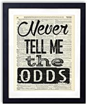 Never Tell Me The Odds Typography Quote Upcycled Vintage Dictionary Art Print 8x10