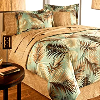 TROPICAL PALM TREE LEAF/LEAVES OCEAN BEACH Coastal Bedding Comforter Set Bed in a Bag (QUEEN SIZE)