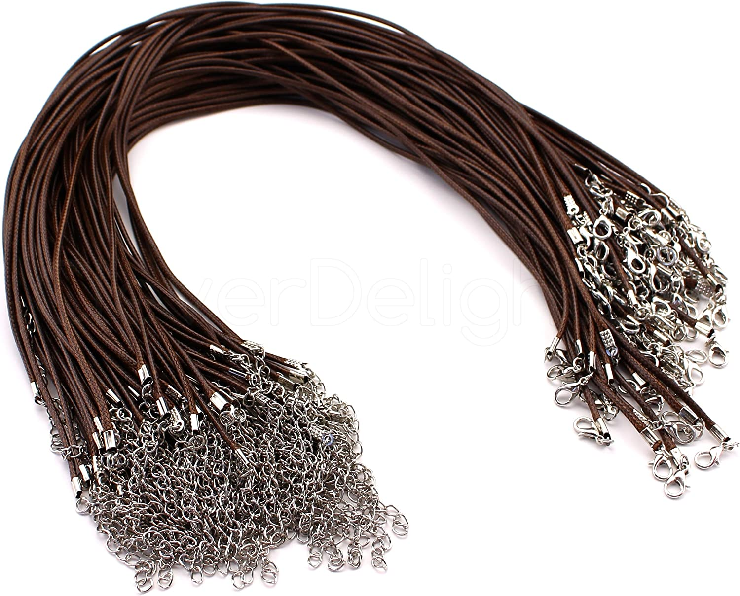 100 CleverDelights Imitation Leather Cord Necklaces  Brown  18 Inch  With Lobster Clasp 2mm Thick 18