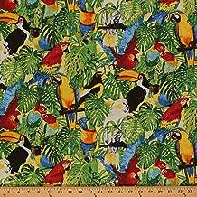 Cotton Rainforest Romp Tropical Birds Parrots Toucan Cockatoo Jungle Cotton Fabric Print by The Yard (D465.21)