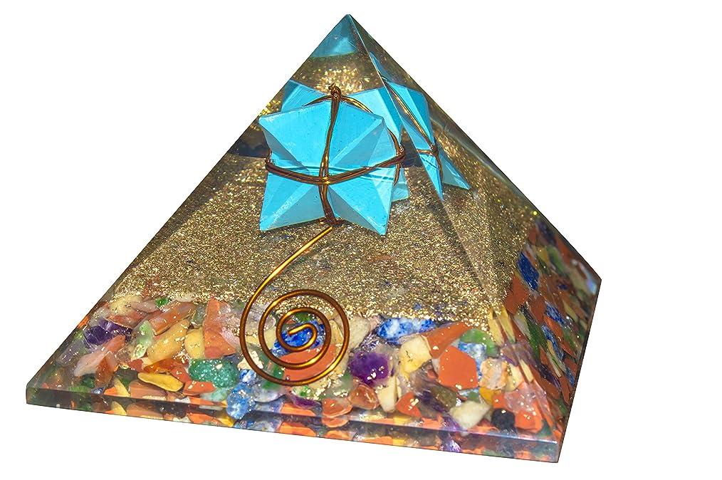 見て嫌いビンcrocon Mix Chakra Gemstone Orgone Pyramid withターコイズMerkabaエネルギージェネレータのオーラクレンジング、レイキHealing、チャクラバランシングsize- 3?–?3.5?inch