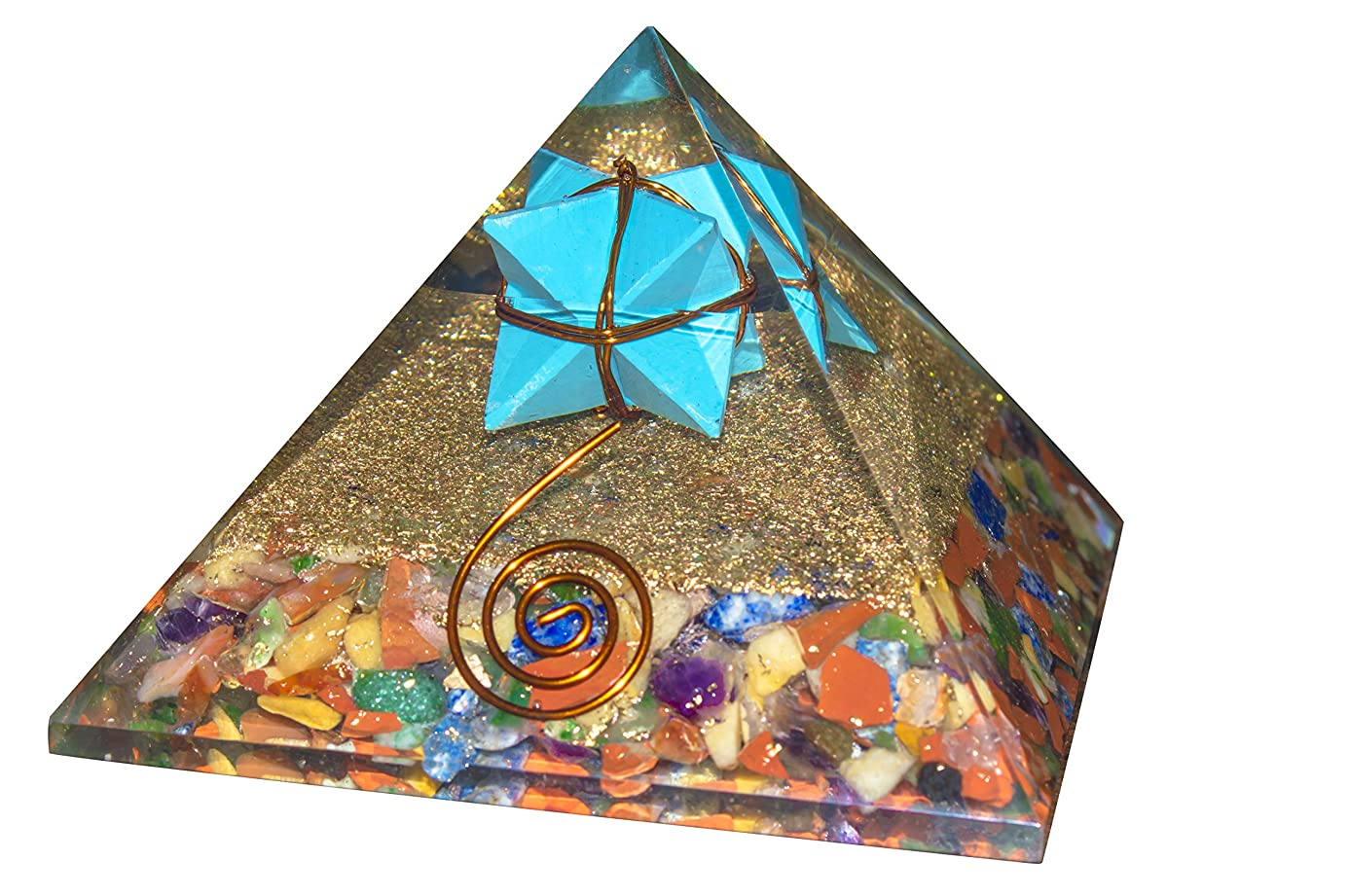 狂気曲げるシンジケートcrocon Mix Chakra Gemstone Orgone Pyramid withターコイズMerkabaエネルギージェネレータのオーラクレンジング、レイキHealing、チャクラバランシングsize- 3?–?3.5?inch