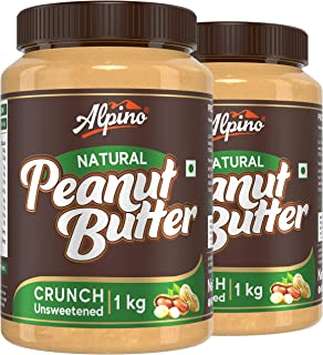 Alpino Natural Peanut Butter Crunch 2 KG | Unsweetened | Made with 100% Roasted Peanuts | 30% Protein | No Added Sugar | N...