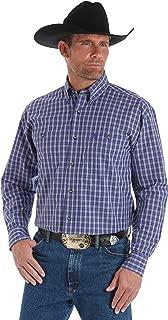 Men's George Strait Long Sleeve Button Down Shirt, Blue/White Plaid - MGSB557 (Medium)