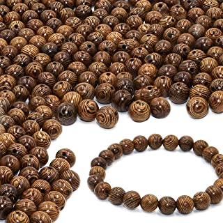 300 PCS Wooden Beads for Jewelry Making Adults, 8mm Dark Brown Assorted African Beads, Macrame Supplies Round Beads, Craft Wood Beads for Bracelets and Necklace Jewelry, Free Stretch Beaded Bracelet