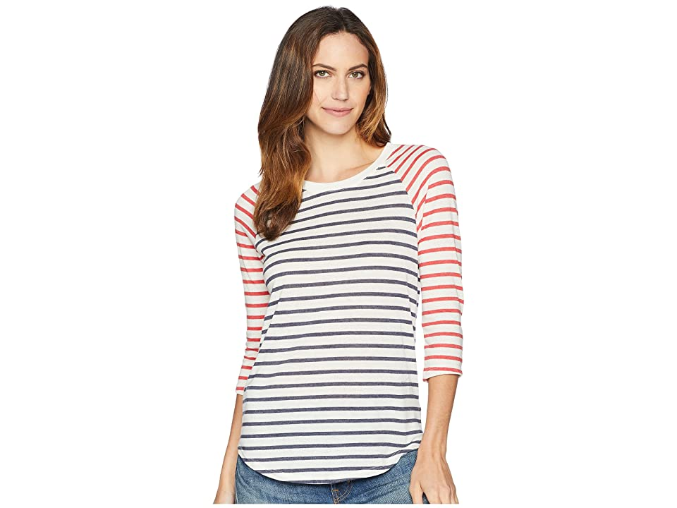 Alternative Eco Jersey Raglan Baseball (Midnight Riviera Stripe/Red Riviera Stripe) Women