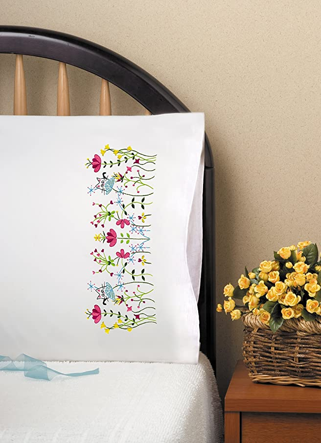 Tobin T232183 Stamped Pillowcase Pair For Embroidery 20x30-Cats In Flowers
