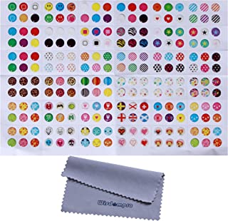 Home Button Stickers, 216 Choices, Polka Dots, Colorful Bubbles, Emojis, Fit Apple iPhone 4s, 5/5c/5s, 6/6 Plus, SE, iPod Touch 4, 5, 6, iPad 3, 4, Mini 2, 3 & Air 2 by Wisdompro (Pattern 1)