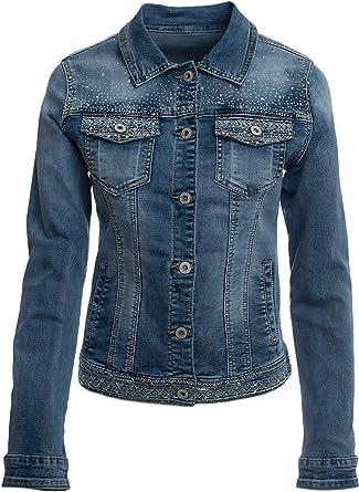 JOPHY & CO. Giacca Jeans Denim Donna Corta Tasche e Rifiniture con Brillanti (cod. JC003)