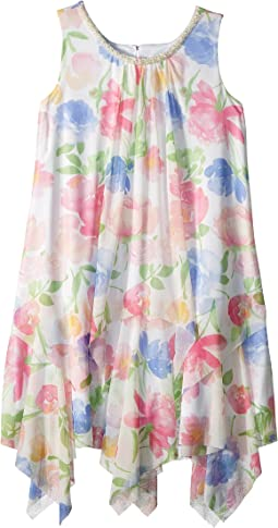 Us Angels - Chiffon Floral Print Trapeze Dress (Big Kids)