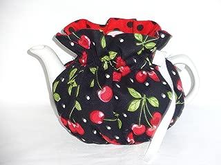 2 Cup Pretty Cherries on Black Reversible Tea Pot Cozy