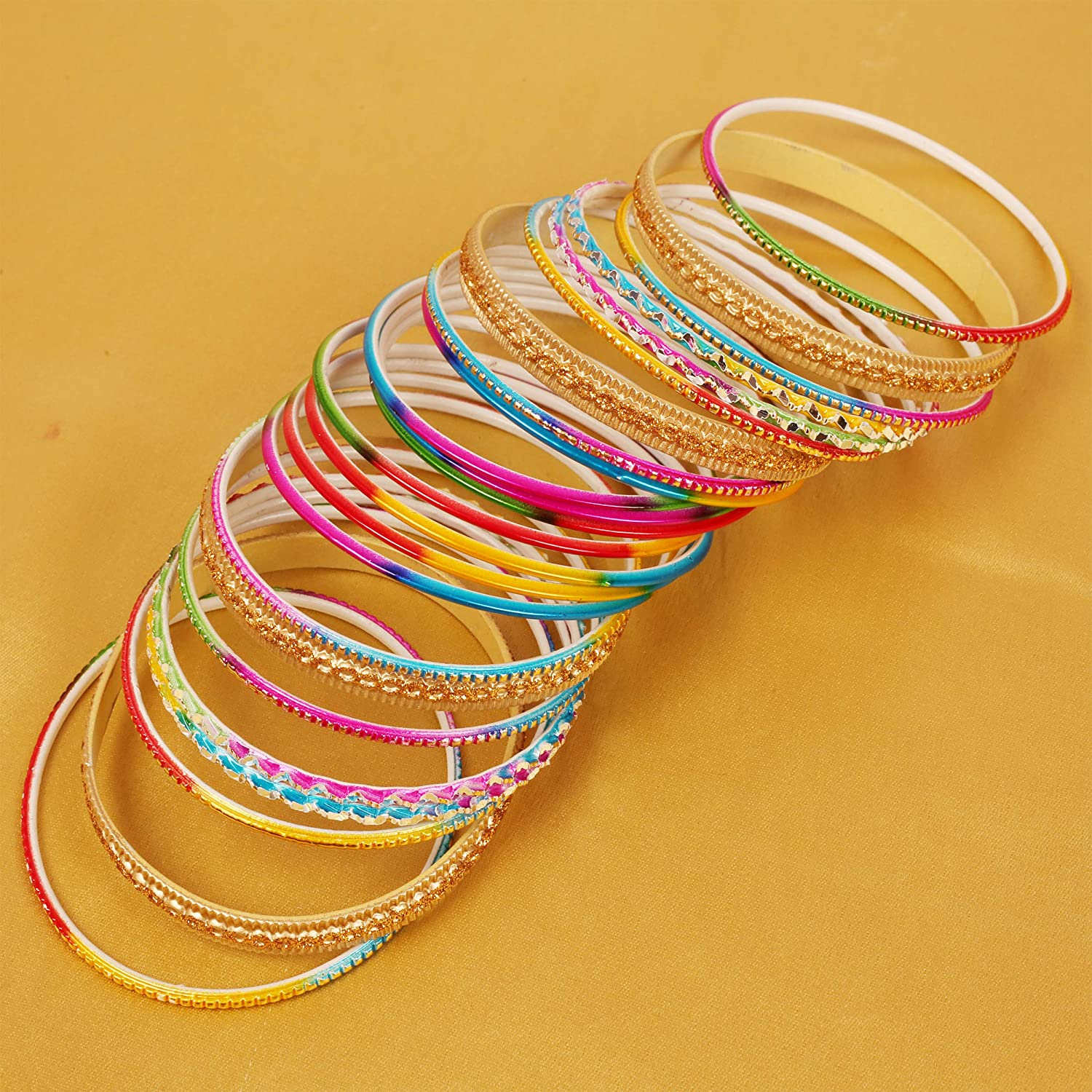 Touchstone Stunning Rainbow Multicolor Bangle Collection. Indian Bollywood Colorful Bangle Bracelet Set of 24 in Antique Gold Tone for Women.