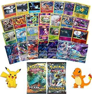 25 Pokemon Cards with 1 EX/GX Card Guarantee plus 2 Booster Packs - Holos and Rares Included - Exclusive JT Corp Pokemon Sticker Included
