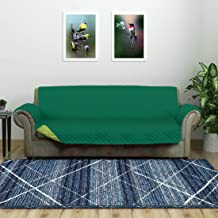 @home by Nilkamal Reversible 3 Seater Polyester Sofa Cover, Emerald & Light Green