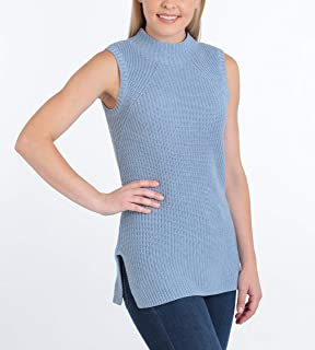 Eight Women's Shaker Stitch Knit Sweater, Sleeveless, Funnel Neck