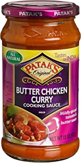 Patak's Butter Chicken Curry Cooking Sauce, Mild, 15-Ounce Glass Jars (Pack of 6)