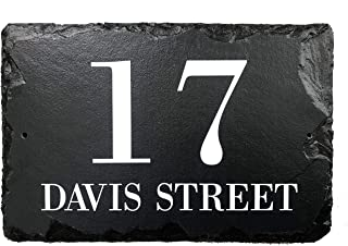 Beautifully Handcrafted and Customizable Slate Home Address Plaque (12