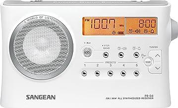 Sangean PR-D 4 - Radiodespertador portátil (AM/FM, LCD), plata