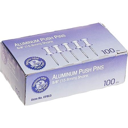 ADVANTUS Aluminum Head Push Pins, Steel 5/8-Inch Point, Silver, 100 per Box (CPAL5)