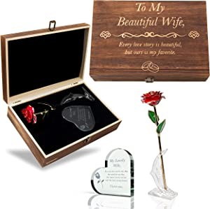 GreenCor Anniversary for Her | Wife | Women – Engraved Wooden Gift Set 'to My Beautiful Wife' Includes Crystal Engraved Heart | 24K Gold Dipped Rose | Birthday | Valentines Day