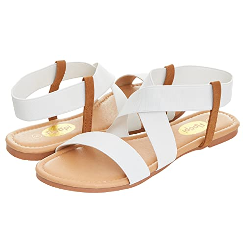 55507dd2d7c Floopi Womens Summer Flat Sandals Open Toe Elastic Ankle Strap Gladiator  Sandal