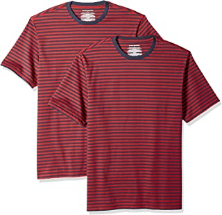 Amazon Essentials Men's Loose-fit Short-Sleeve Stripe Crewneck T-Shirts